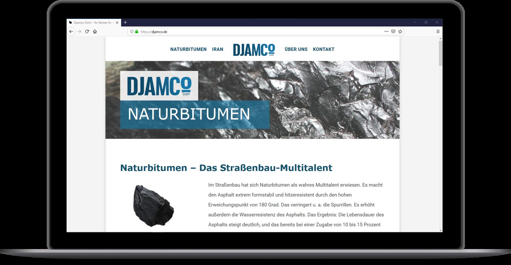 Webauftritt produzierendes Gewerbe - Website_Djamco_Naturbitumen_BadNauheim